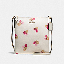 NORTH/SOUTH CROSSBODY IN FIELD FLORA PRINT COATED CANVAS - f59848 - IMITATION GOLD/CHALK MULTI