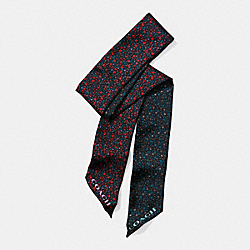 RANCH FLORAL SILK TWILL SKINNY SCARF - f59849 - MIDNIGHT NAVY