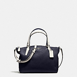 MINI KELSEY SATCHEL IN REFINED NATURAL PEBBLE LEATHER - f59853 - SILVER/MIDNIGHT