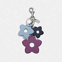 FLOWER MIX BAG CHARM - f59865 - SILVER/CORNFLOWER
