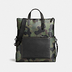 MANHATTAN FOLDOVER TOTE WITH WILD BEAST PRINT - f59883 - BLACK/MILITARY WILD BEAST