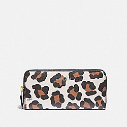 COACH F59885 Slim Accordion Zip Wallet With Ocelot Print IM/CHALK MULTI