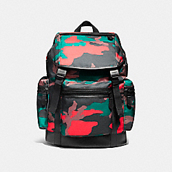 COACH TERRAIN TREK PACK IN CAMO MIXED MATERIALS - MATTE BLACK/BLACK/RED CAMO - F59897