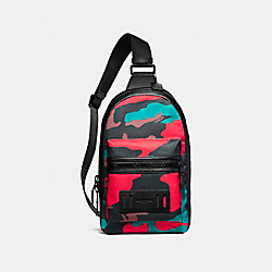 COACH F59901 Terrain Pack In Camo Mixed Materials MATTE BLACK/BLACK/RED CAMO