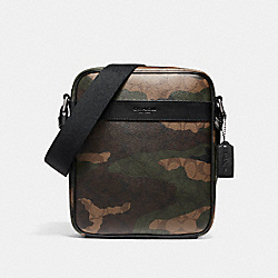 CHARLES FLIGHT BAG IN ANIMATED SIGNATURE CAMO PRINT COATED CANVAS - f59913 - BLACK ANTIQUE NICKEL/MAHOGANY/DARK GREEN CAMO