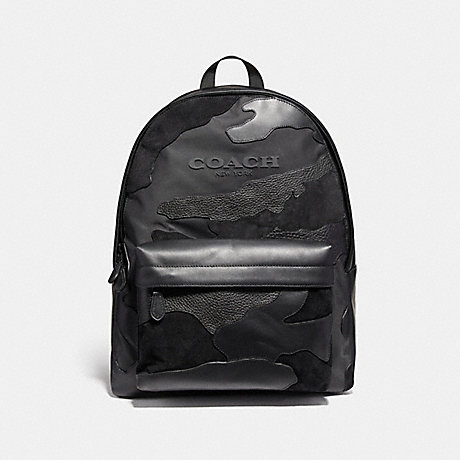 COACH f59935 CHARLES BACKPACK IN BLACKOUT MIXED MATERIALS MATTE BLACK/BLACK