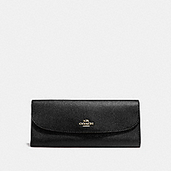 COACH F59949 Soft Wallet In Crossgrain Leather IMITATION GOLD/BLACK