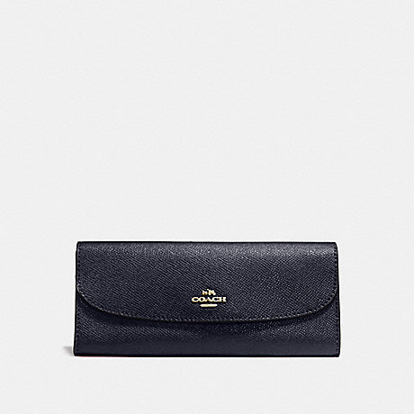 COACH f59949 SOFT WALLET IN CROSSGRAIN LEATHER IMITATION GOLD/MIDNIGHT