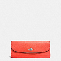 COACH F59949 - SOFT WALLET IN CROSSGRAIN LEATHER SILVER/BRIGHT ORANGE