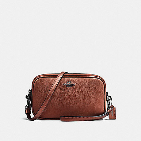 COACH f59952 CROSSBODY CLUTCH MATTE BLACK/METALLIC RUST
