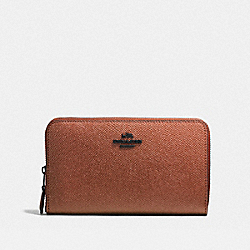 COACH F59968 Medium Zip Around Wallet MATTE BLACK/METALLIC RUST