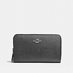 MEDIUM ZIP AROUND WALLET - F59968 - METALLIC GRAPHITE/SILVER