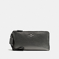 COACH F59969 Double Zip Wallet SILVER/METALLIC GRAPHITE
