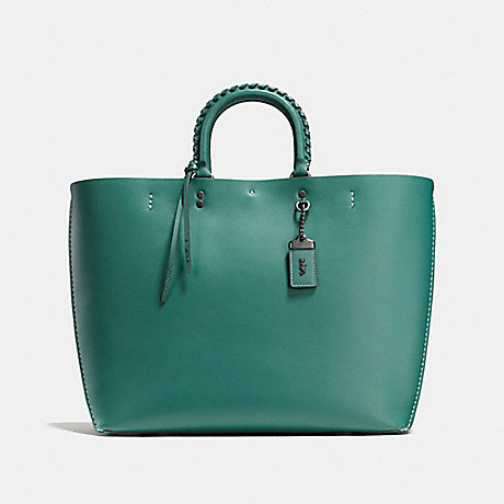 COACH F59981 ROGUE TOTE WITH WHIPSTITCH HANDLE DARK TURQUOISE/BLACK COPPER