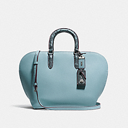 DAKOTAH SATCHEL WITH COLORBLOCK SNAKESKIN DETAIL - F59984 - STEEL BLUE/LIGHT ANTIQUE NICKEL