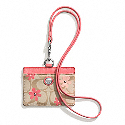 COACH F60474 Daisy Signature Floral Canvas East/west Lanyard Id