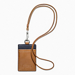 COACH F61313 Lanyard In Heritage Web Leather SILVER/SADDLE