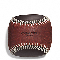 COACH F61451 Baseball Paperweight RUST/DARK BROWN