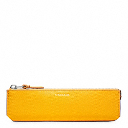 COACH F61677 Bleecker Embossed Textured Leather Pencil Case HARVEST YELLOW