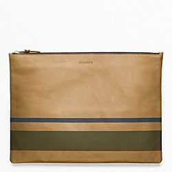 COACH F61683 Bleecker Painted Stripe Leather Large Zip Portfolio