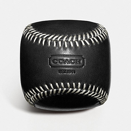 COACH f61740 LEATHER BASEBALL PAPERWEIGHT  BLACK
