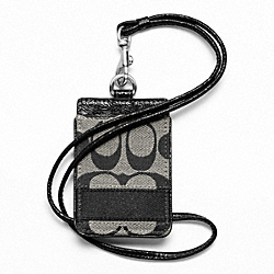 COACH F61766 Signature Stripe Lanyard Id Case SILVER/BLACK/WHITE/BLACK