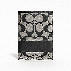 COACH F61768 Signature Stripe Passport Case