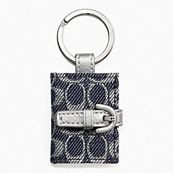 COACH F61848 Signature Picture Frame Key Ring SILVER/DENIM/SILVER