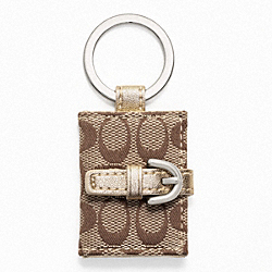 COACH F61848 Signature Picture Frame Key Ring SILVER/KHAKI/METALLIC