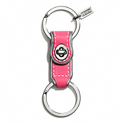 COACH F61893 Leather Valet Key Ring SILVER/PINK