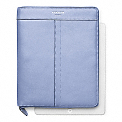 COACH F61953 Leather Zip Around Ipad Case SILVER/CHAMBRAY
