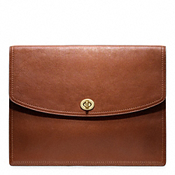 LEATHER UNIVERSAL CLUTCH - f61987 - BRASS/COGNAC