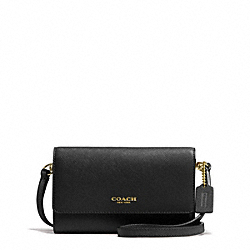 COACH F62189 Saffiano Leather Phone Crossbody LIGHT GOLD/BLACK