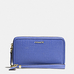 COACH F62191 Madison Double Zip Phone Wallet In Embossed Leather LIGHT GOLD/PORCELAIN BLUE