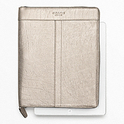 COACH METALLIC LEATHER ZIP AROUND IPAD CASE - ONE COLOR - F62219