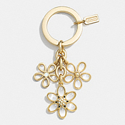 COACH F62226 Flower Charm Multi Mix Key Chain GOLD/CLEAR
