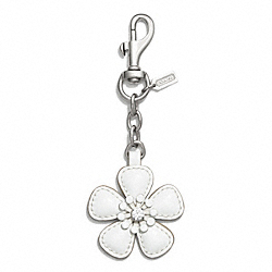 COACH F62227 Flower Charm Key Chain SILVER/WHITE