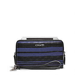 COACH F62249 Bleecker Embossed Woven Leather Double Zip Phone Wallet SILVER/BLUE INDIGO/BLACK