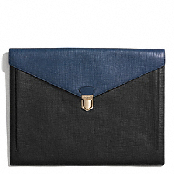 COACH F62264 Crosby Colorblock Box Grain Leather Portfolio BLACK/ROYAL