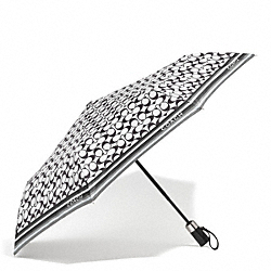COACH F62339 Signature Umbrella SILVER/BLACK GREY/BLACK