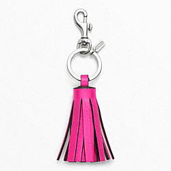 COACH F62376 - SINGLE  TASSEL KEY RING SILVER/FUCHSIA