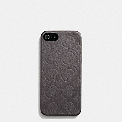 IPHONE CASE IN OP ART EMBOSSED LEATHER - f62379 -  MAHOGANY
