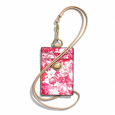 COACH f62400 PEYTON FLORAL PRINT LANYARD ID CASE BRASS/PINK MULTICOLOR