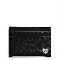 COACH F62405 Perforated Embossed Liquid Gloss Card Case SILVER/BLACK