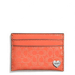 PERFORATED EMBOSSED LIQUID GLOSS CARD CASE - f62405 - SILVER/ORANGE