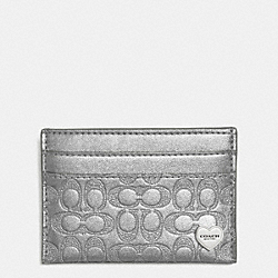 COACH F62405 Perforated Embossed Liquid Gloss Card Case SILVER/PEWTER