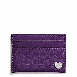 COACH F62405 Perforated Embossed Liquid Gloss Card Case SILVER/VIOLET