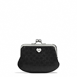 COACH F62407 Perforated Embossed Liquid Gloss Framed Coin Purse SILVER/BLACK