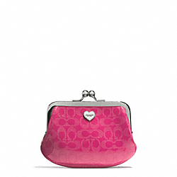 COACH F62407 Perforated Embossed Liquid Gloss Framed Coin Purse SILVER/FUCHSIA