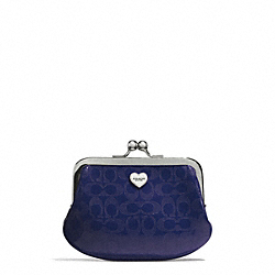 COACH F62407 Perforated Embossed Liquid Gloss Framed Coin Purse SILVER/NAVY